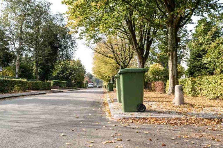 Ulica gminy wymagającej czystości i porządku zamiecenia liści i opróżnienia koszy na śmieci