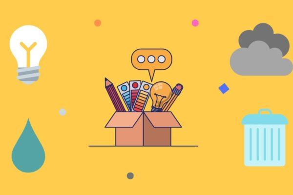 Grafika symboli edukacji ekologicznej: kropla, żarówka, chmury, kosz na odpady, pudełko z przyborami
